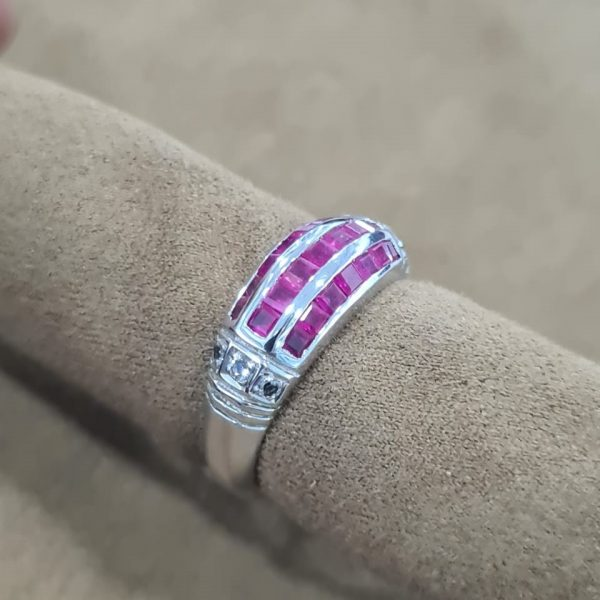 Genuine Certified Pink sapphire, White Sapphire 18kt white gold coated 925 sterling silver Ring. Ladies.