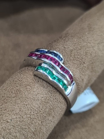 Genuine Certified Blue Sapphire, Ruby, Emerald 18kt white gold coated 925 sterling silver Ring. Ladies.