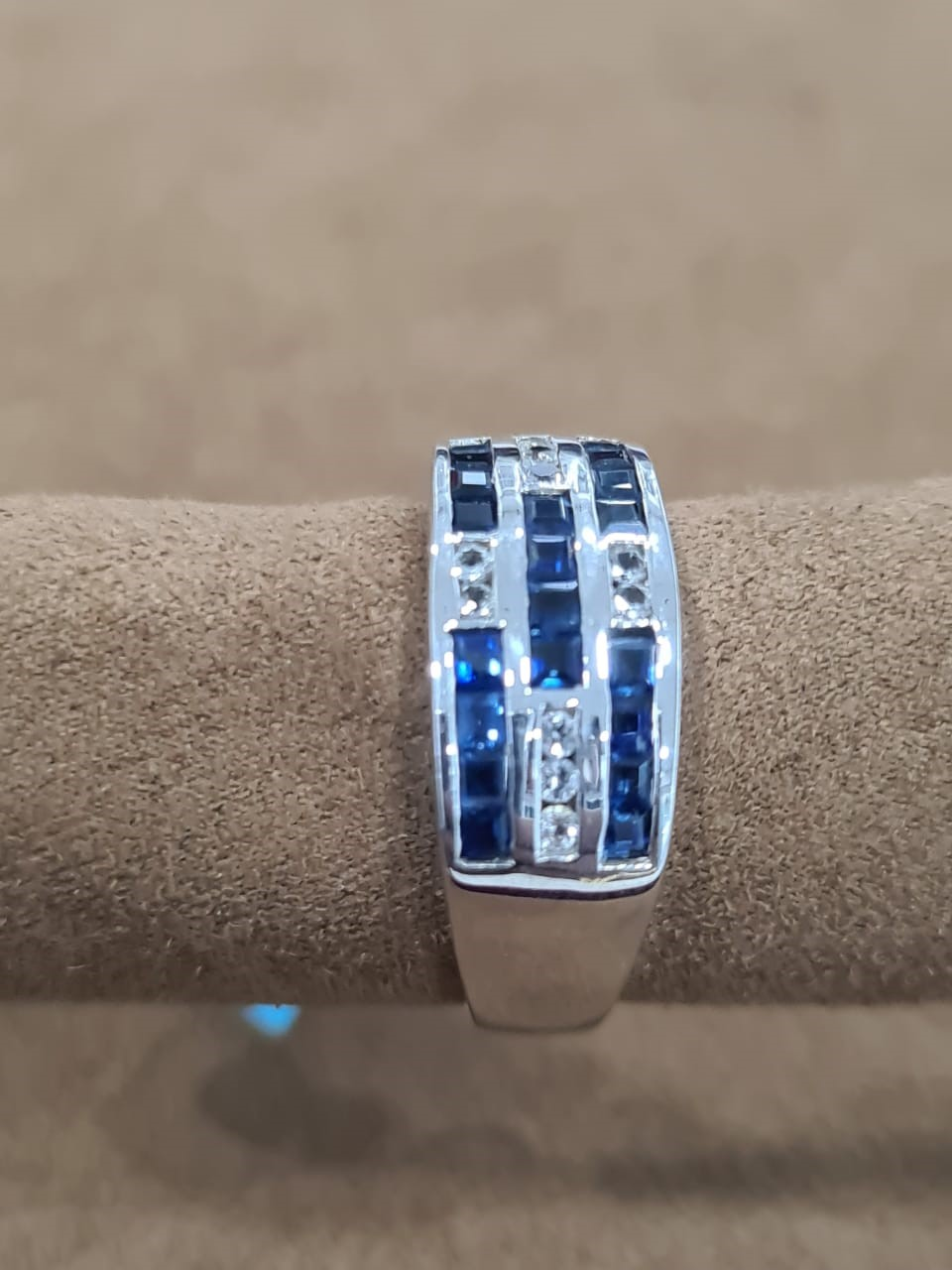 Genuine Certified Blue sapphire, White Sapphire 18kt white gold coated 925 sterling silver Ring UNISEX.